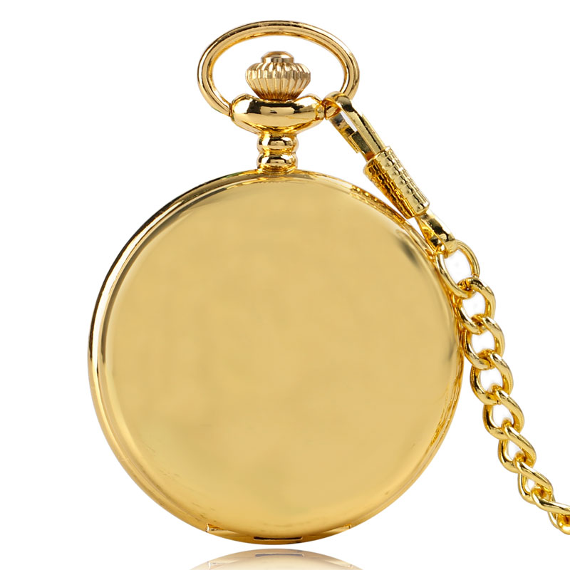Luxury Gold Smooth Steampunk Quartz Pocket Watch Casual Vintage Fob Clock Men Women Pendant Gift With Chain 2017 fashion vintage charm black smooth steampunk pocket watch men women necklace pendant clock chain with gift box birthday gifts