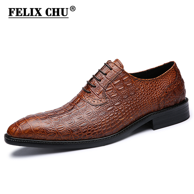 FELIX CHU Luxury Italian Men Wedding Black Lace Up Oxford Genuine Leather Crocodile Print Party Business Male Dress Brown Shoes men luxury brand python leather dress shoes male high grade full leather oxford shoes lace up brown dress men free ship dhl page 1