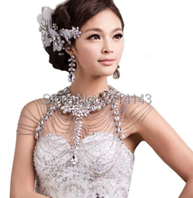 Luxury Wedding Jewelry Long Crystal Necklace Chain Bridal Shoulder Strap Bijouterie Body Accessories For Women