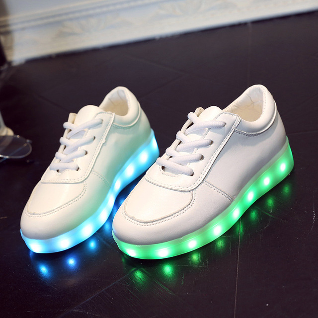 06a76c908 usb childrens bright child shoes white basket led kids trainers girl boys  led slippers light up luminous infant sneaker glow