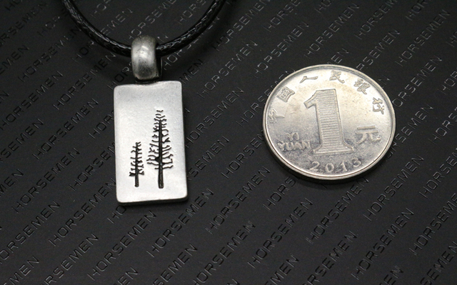 10pcs Nature Jewelry Pine Tree men Necklace punk Modern Silver Tree Pendant handmade jewelry