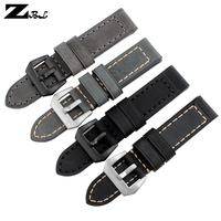 Thick Watch Band Genuine Leather Strap Grey Watchband 20 22 24 26mm Mens Pure Handmade