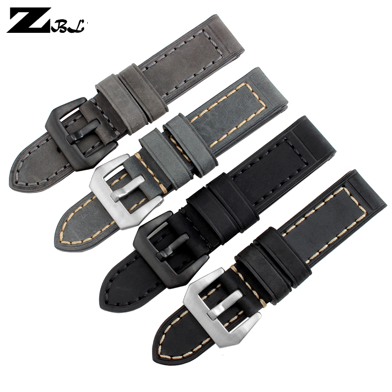 Thick watch band Genuine leather watchband 20mm 22mm 24mm 26mm mens Pure hand made sporty watch  strap Grey leather bracelet