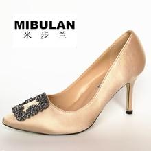 Free Shipping women's classic silk stain diamond buckle wedding heels, female fashion silk stian buckle party pumps, 33-43