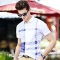 Новый 2016 Мода Лето Стиль мужские Поло рубашки Проверки Классические деловые мужчины рубашки поло Свободные Бренды Коротким Рукавом поло homme
