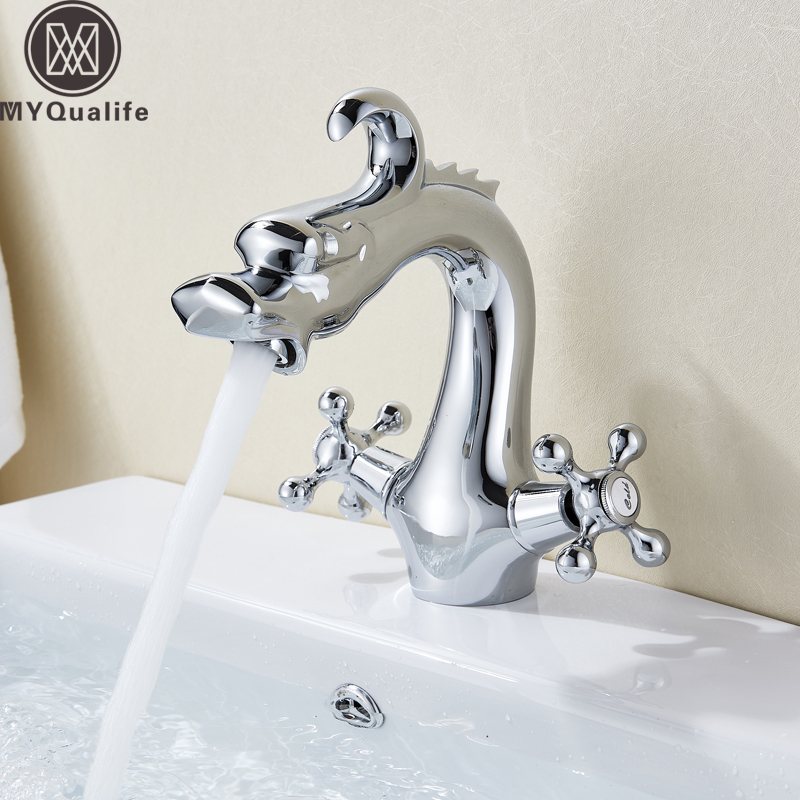 Basin Faucets Bathroom Fixtures Copper Dolphin Style Waterfall Basin Faucet Double Handle Bathroom Dual Hole Hot And Cold Mixer Tap Chrome Polished Deck Mounted Elegant In Smell