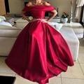 Árabe Boat Neck Satin Manga Comprida Com Beading Correias Curto Vermelho Vestido de Baile de formatura 2016 vestidos de festa Vestidos de festa