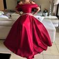Árabe Cuello Barco Manga del Satén Con Rebordear Correas Corto Rojo Vestido de Fiesta de graduación 2016 vestidos de fiesta Vestidos de Fiesta