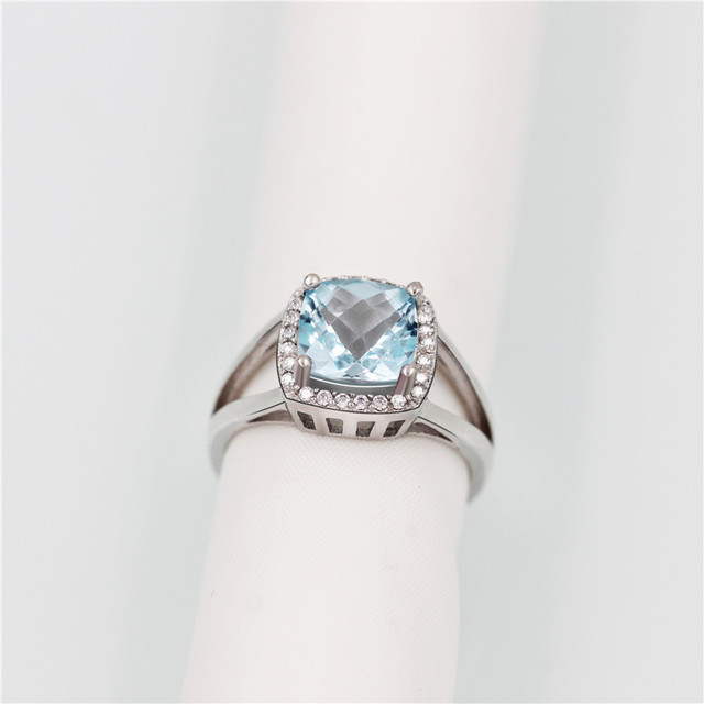 brixini.com - London 3CT Blue Topaz 925 Solid Sterling Silver Ring