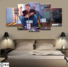 Home Decor Poster HD Pictures Prints Canvas 5 Piece Modular GTA GAME Living Room Art Decorative Painting Framed