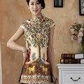 Бесплатная доставка Summber Мода Китайская традиция Шелковый Женщин блузка рубашка топы размер Sml XL XXL XXXL TY13