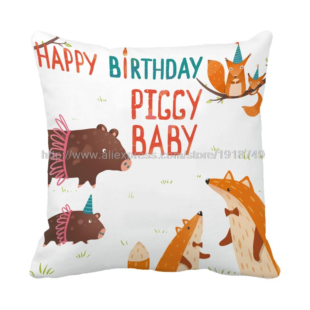 letter Happy birthday piggy baby printed customized white cushion cover cartoon animal decorative throw pillow case for home