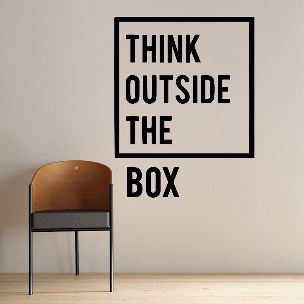 מדבקות קיר למשרד - THINK OUT SIDE THE BOX