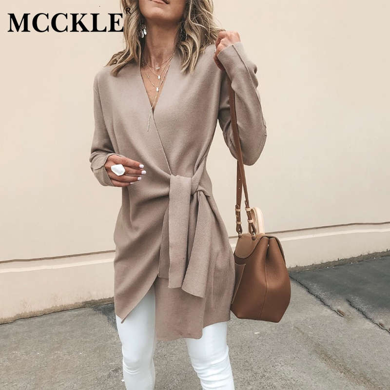 Lady Cardigan Long-Sleeve Khaki Coat V-Neck Women's Casual Solid Lace-Up Outwear Faux-Suede