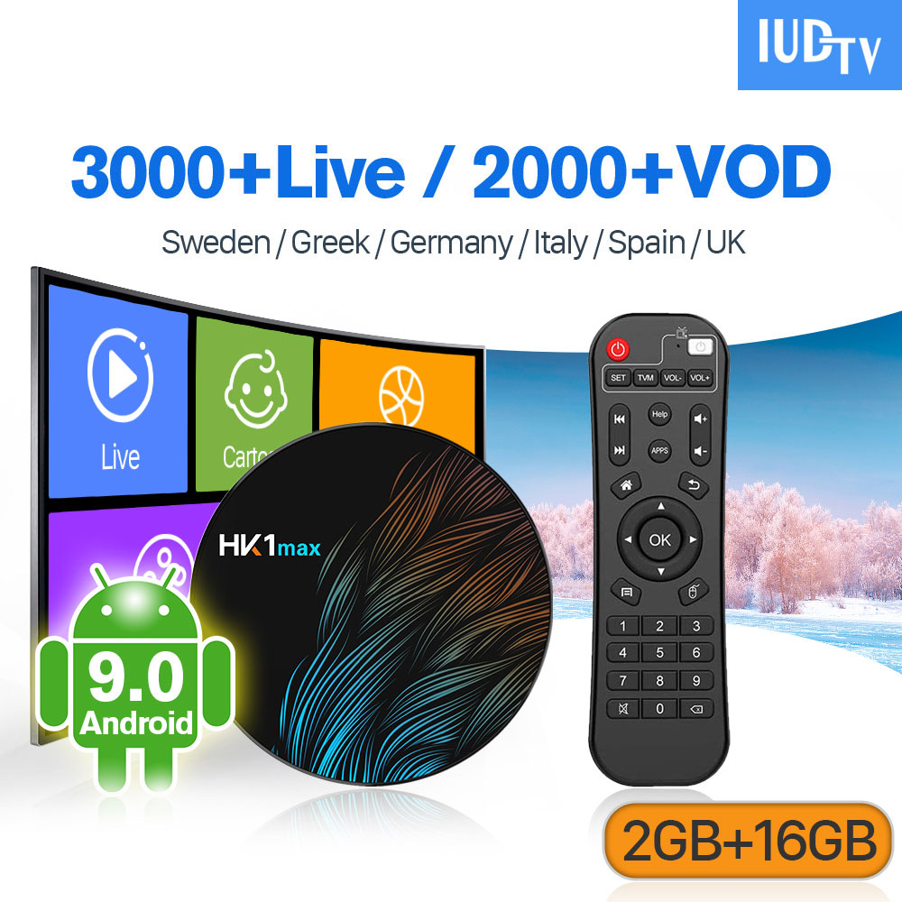 IUDTV IPTV Germany UK Italy Spain Sweden Box HK1 MAX Android 9.0 2G+16G 1 Year Italia