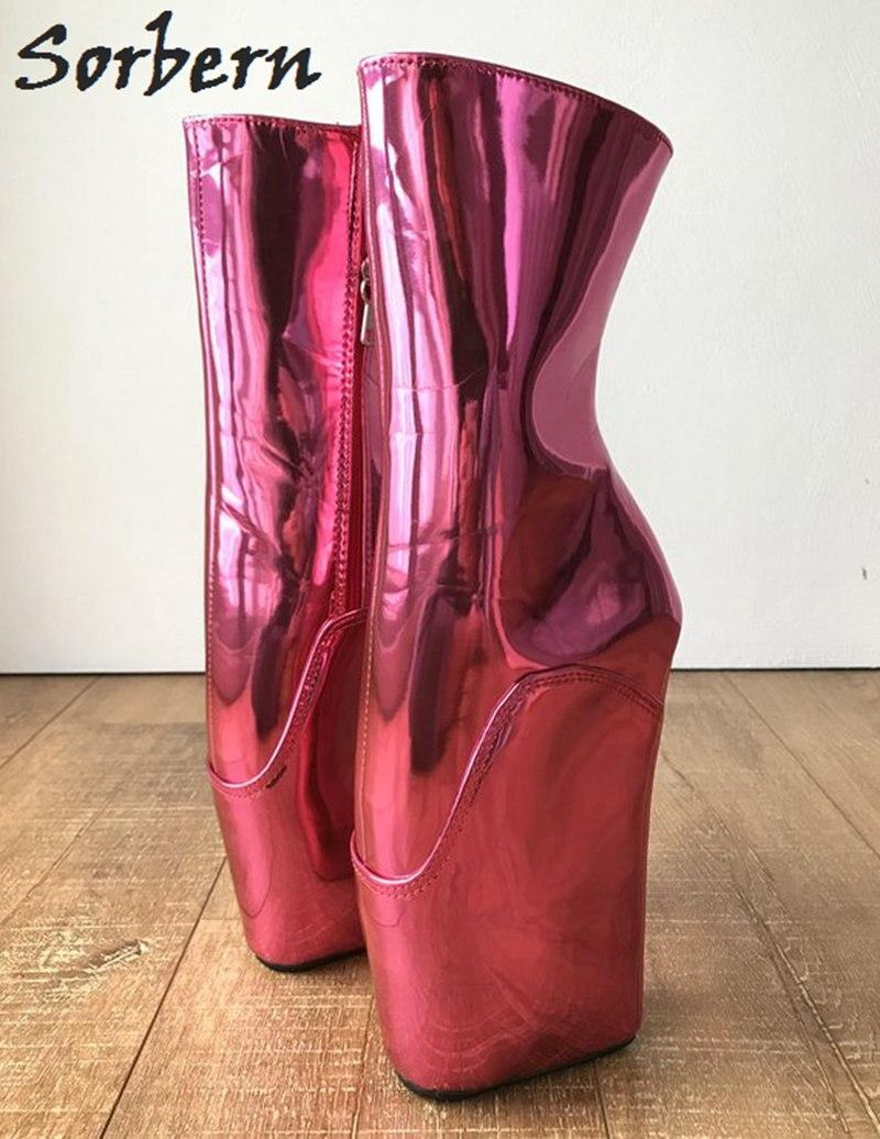 Botas Para Color Alto Mujeres Red Tamaño Reflectante Piel Rosa Tacón rosy Tobillo Diy Gran Custom Metálico 45 Sorbern Unisex Zapatos Caliente De Hqwgz