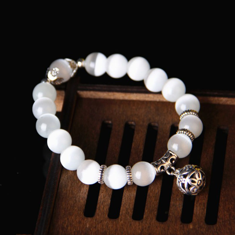 1Pc Magnet White Cat Eye Beads Bracelet With Lucky Pendant Therapy Bracelet Anklet Weight