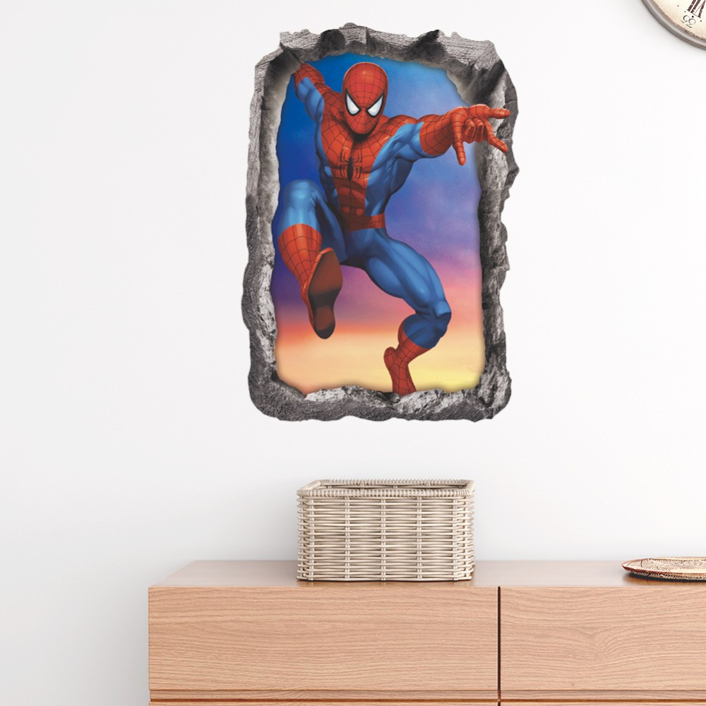 3D spiderman wall stickers for kids rooms removable cartoon fake window wall decals home decor in Wall Stickers from Home Garden