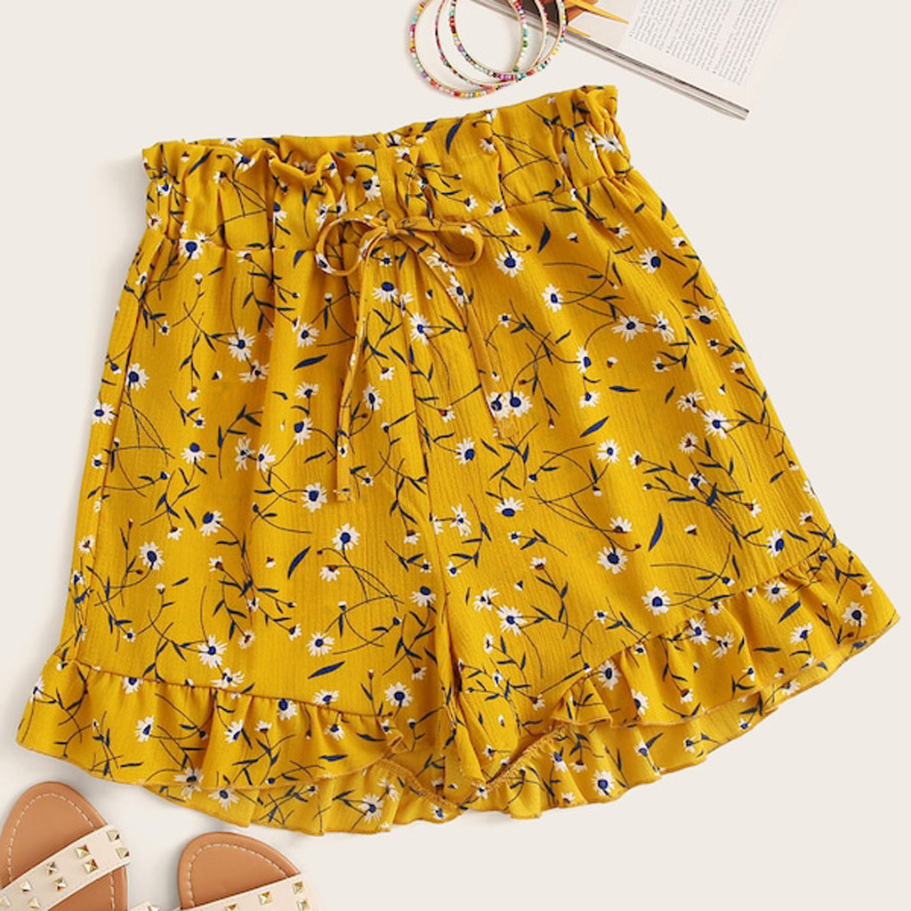 Boho Shorts Women Fashion Ruffle Trim Floral Print Drawstring Shorts Summer Casual Sweet Cute Streetwear Short Femme