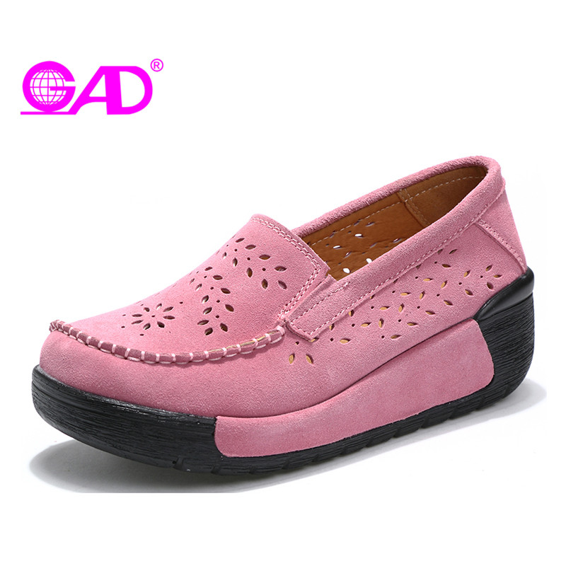 GAD Brand Women Flat Platform Shoes Summer Hollow Comfortable Breathable Slip-on Casual Fashion High Quality Women Casual Shoes sweet women high quality bowtie pointed toe flock flat shoes women casual summer ladies slip on casual zapatos mujer bt123