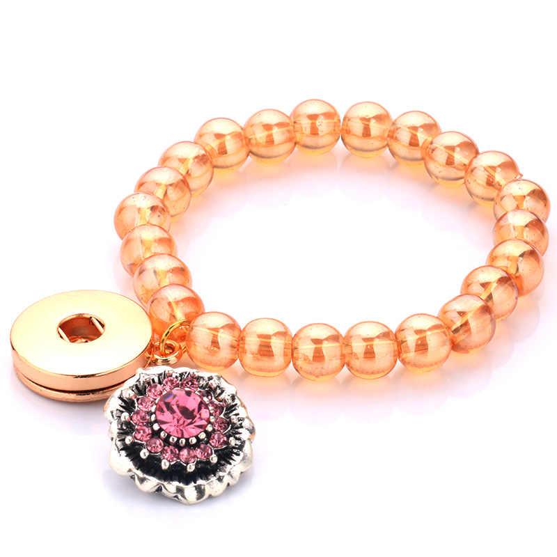 Очаровательная Золотая кнопка со стразами кулон женский браслет 18 мм можно установить с кнопками завод прямой A154-