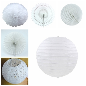 Wedding Baby Shower Birthday Party Decoration White Paper Lantern Tissue Paper Flower Ball Hanging Paper Fan DIY Crafts Supplies(China)