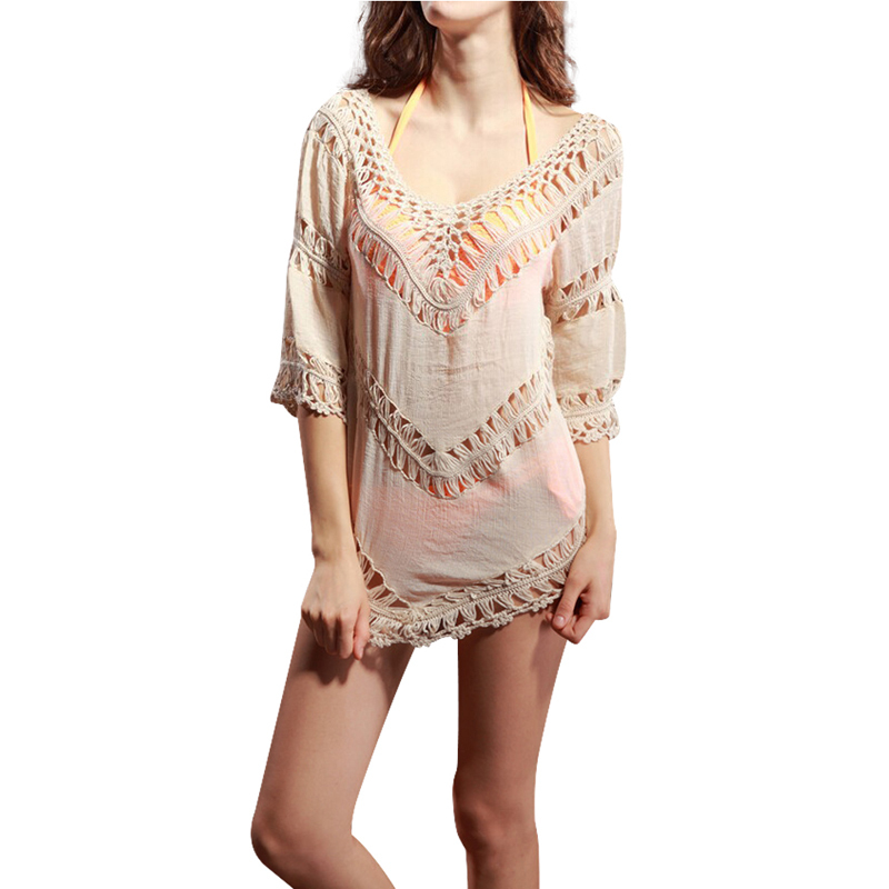 New Hollow Out Bikini Cover Loose Casual Tops Pullovers For Women Knitted Crochet Fashion Tees wf-3041