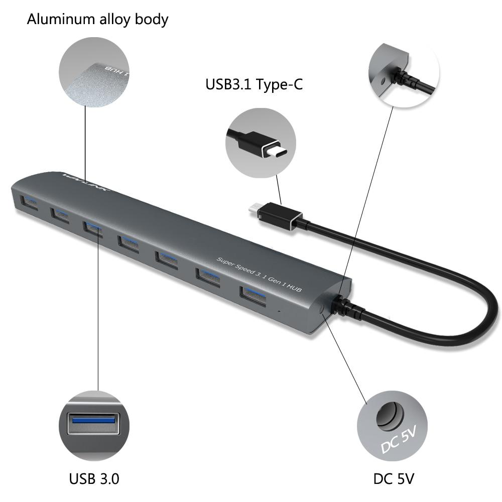 USB Hub 3.0 Zeer snelle 7-poorts Aluminium USB C Hub met - Computerrandapparatuur - Foto 4