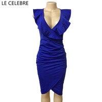 LE CELEBRE Woman Dresses With Ruffles Mid Calf 2018 Sexy V Neck Pencil Bodycon Dress New