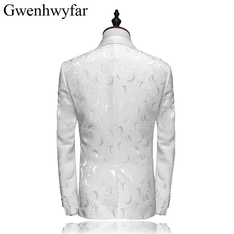 Fête Smokings Vêtements xl Xxs Marié Bouton Mode Unique De Floral Slim Pour Costume Fit Hommes Mariage Brodé Blanc Élégant XAA4PFU7