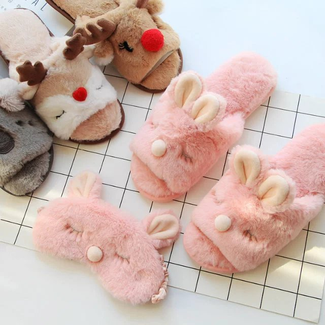 Candice guo plush toy cartoon animal Christmas deer elk rabbit koala winter home floor warm slipper kid girl birthday gift 1pair