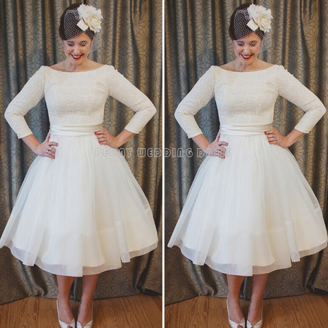 Elegant Long Sleeve Tea Length Wedding Dresses Simple Tulle Lace
