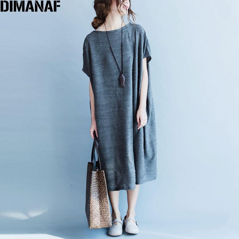 Մեծ չափի ամառային կանացի զգեստներ Vintage բամբակյա անփույթ կոշտ կոշտ տպագրություն Հիմնական շապիկ զգեստ երկար նորաձևություն O-Qeck Plus Size 4XL New Costume