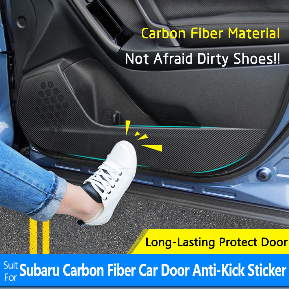 Special For Subaru Forester Legacy Outback XV 4PCS/SET Carbon Fiber Car Door Anti-kick Protection Pad Stickers