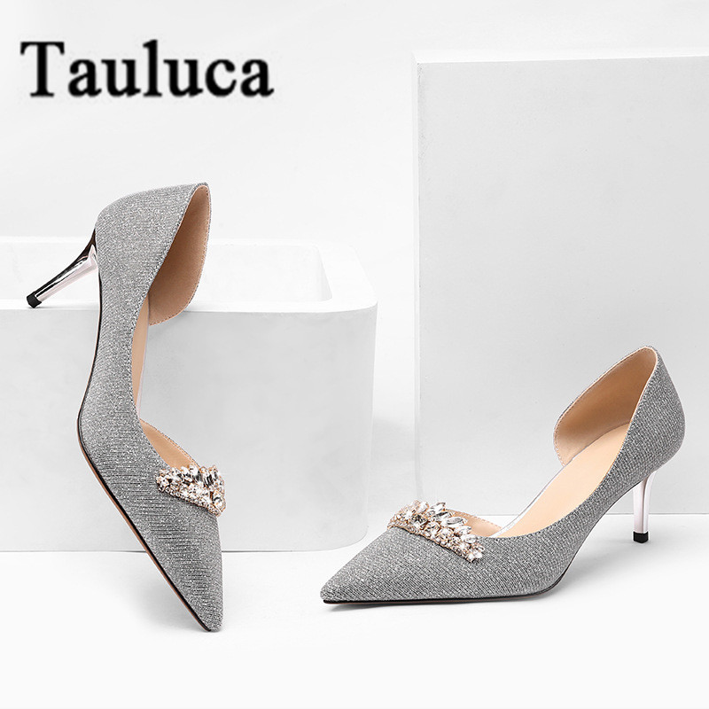 2019 Design Women Sequined Wedding Shoes Rhinestone Crystal Shallow Pumps Thin Heel Pointed Toe Ladies Sexy Evening Shoes2019 Design Women Sequined Wedding Shoes Rhinestone Crystal Shallow Pumps Thin Heel Pointed Toe Ladies Sexy Evening Shoes