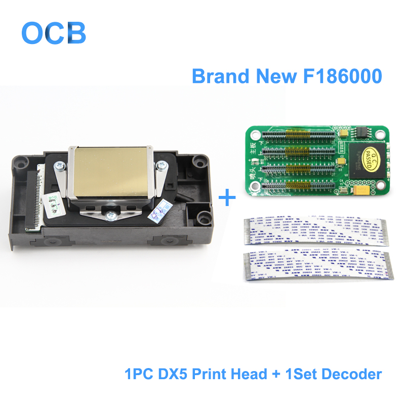 Nova F186000 DX5 UV Cabeça De Impressão Solvente Da Cabeça de Impressão Para Epson R1800 R1900 R2000 R2400 R2880 4800 4880 7880 (1 conjunto Decodificador Para Livre)