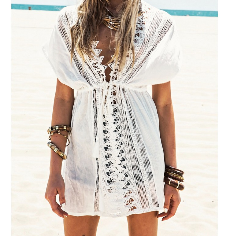 2019 New Beach Cover Up White Lace Swimsuit cover up Summer Crochet Beachwear Bathing suit cover ups Beach Dress (A334 Free)