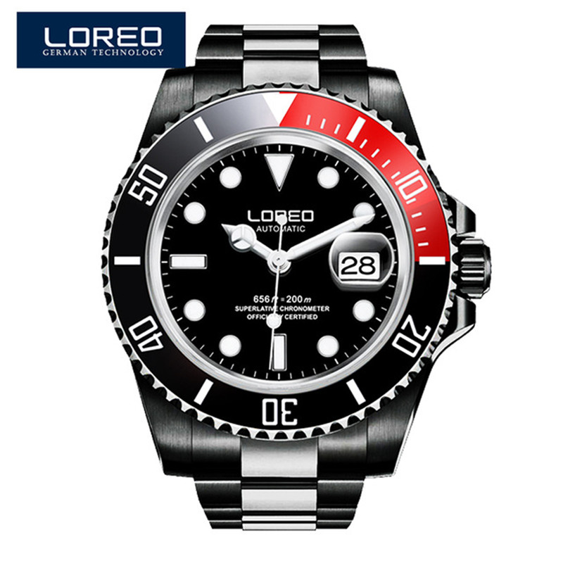 LOREO Diver Watches Men Skeleton Mechanical Watch Auto Date Black Stainless Steel Strap Luxury Classic Luminous Wristwatch O70 60%off fashion silicone bracelet watch olevs men classic design military watches quartz auto date diver sports wristwatch 2017