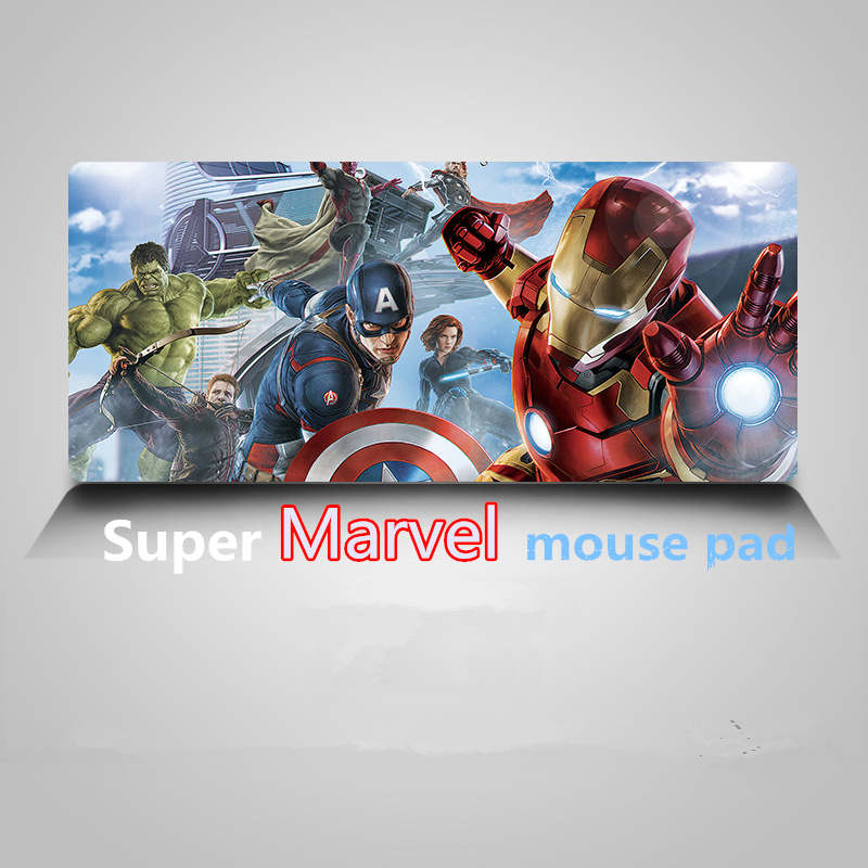Super Marvel mouse pad Locking Edge Gaming Mouse Pad Hero Iron Man Quake Anti slip Natural Rubber Mat anime mouse pad  pc gamer-in Mouse Pads from Computer & Office