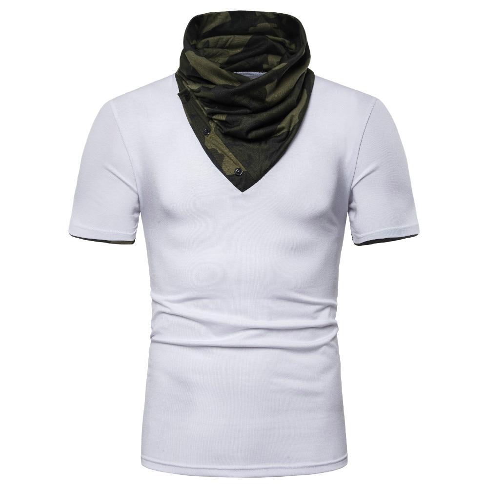 T-Shirt Men Camouflage Turtleneck Brand Cotton Patchwork Streetwear Short Sleeve Musculation EU 2XL