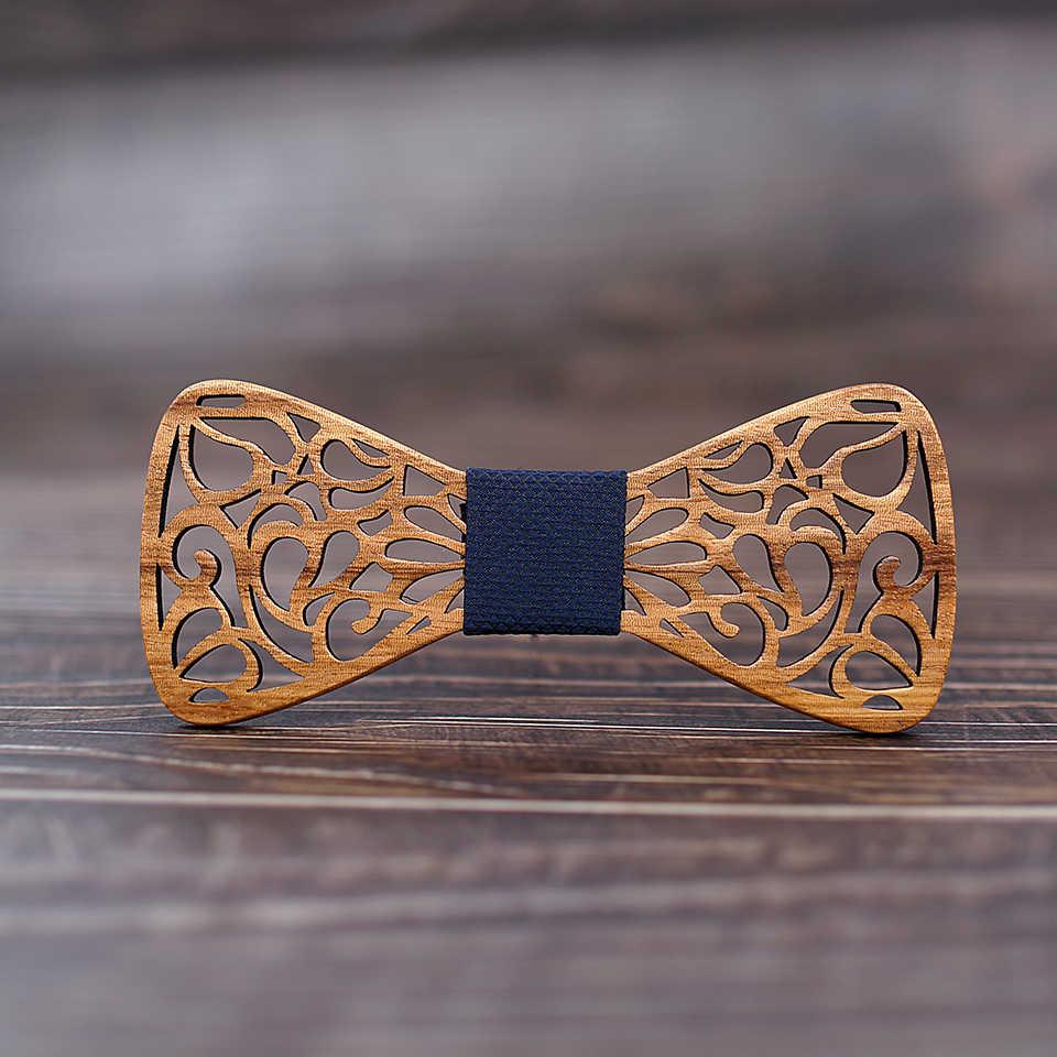 Mahoosive Nuovo di Legno Floreale Cravatte per Gli Uomini Bowtie Hollow Farfalle vestito di Nozze di legno bowtie Shirt krawatte Bowknots Slim tie
