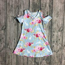 c2038b68915e9 Yeni paskalya tavşanı çiçek ışık mavi kapalı tek omuzlu elbise bebek kız  çocuk giyim diz boyu Yaz kıyafeti butik giyim sıcak sat.