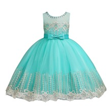 2019 Fashion New Children Dress for Girls Embroidery Birthday Party Baby Kids Princess Pageant Wedding Sequin Flower Girl