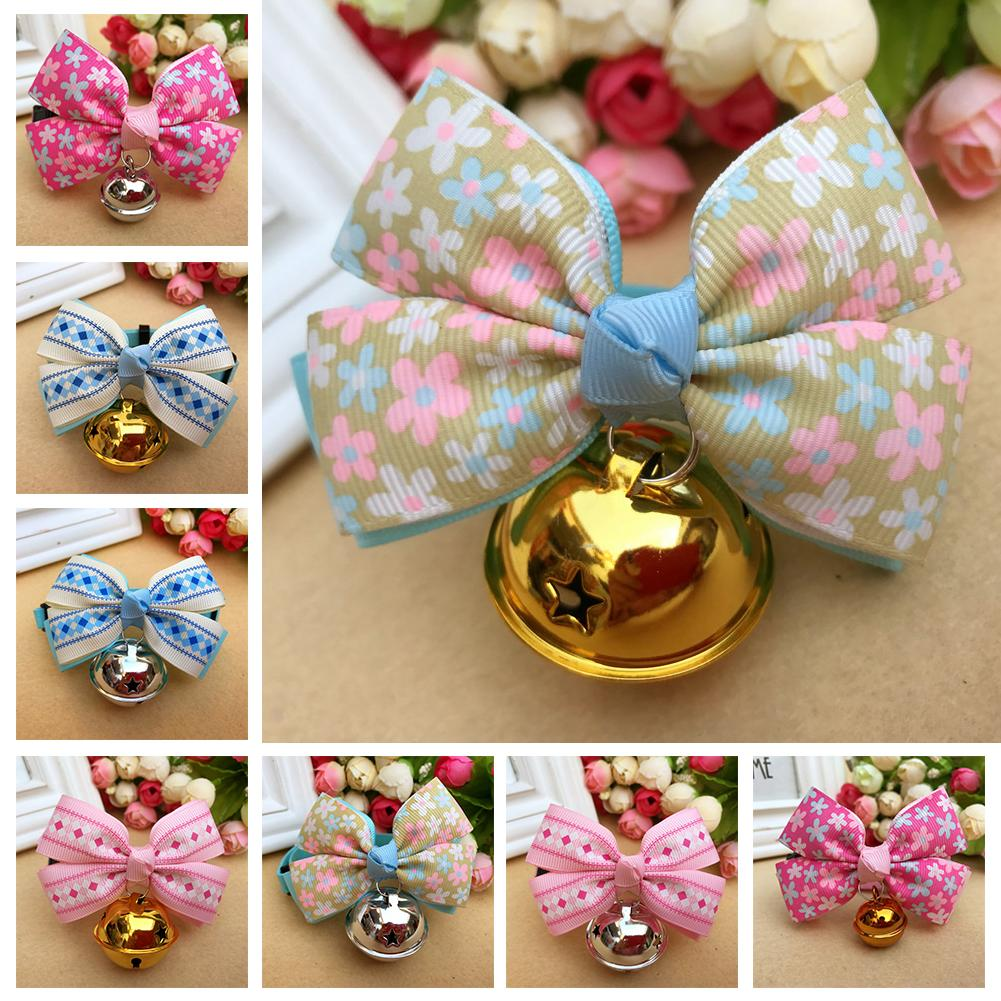Cute Pet Cat Dog Bowtie Collar with Bell Necklace Bowknot Bow Tie Accessory