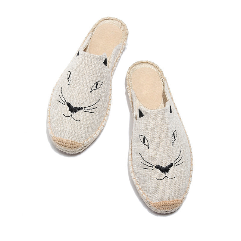 2019 Summer New Female Embroidery Cats Sippers Round Toe Lady Flat Espadrilles Slide Fisherman Shoes Slip On Women Beach Sandals (10)