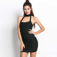 Black Dress 2017 Party Dresses Women Sexy Bodycon Bandage Dress Halter Strapless Sleeveless Club mini Summer Dress