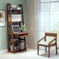Multifunction Solid Wood Desk Bookshelf Combination Bedroom Corner Simple Dressing Table Computer Table Integrated Table 1PC