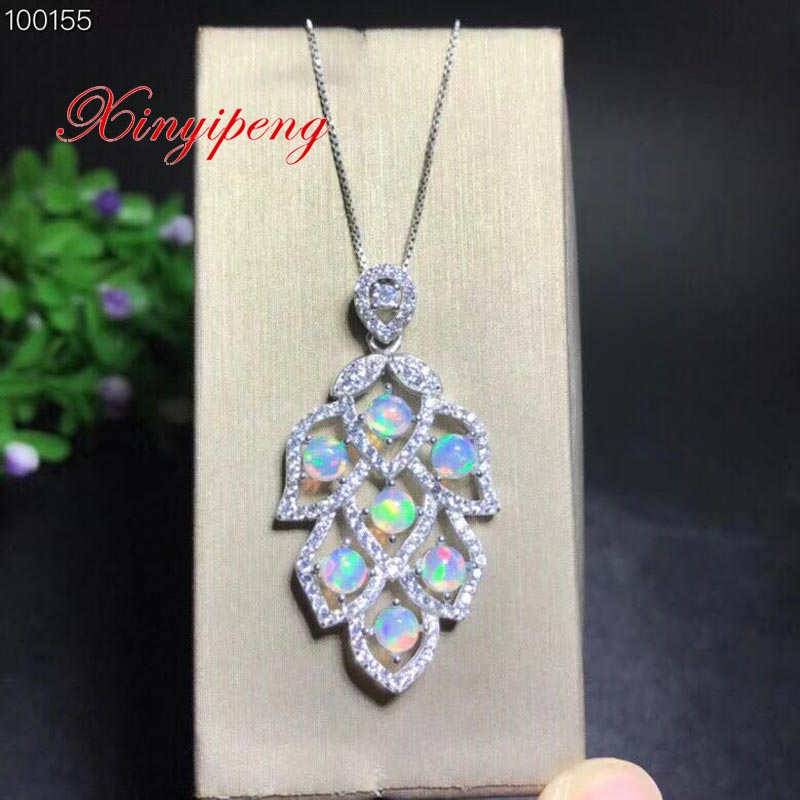 Xin yi peng 925 silver inlaid natural opal necklace, necklace woman, fashionable and generous, holiday anniversary gift yldz001 fashionable moon shaped rhinestone inlaid pendant necklace golden transparent