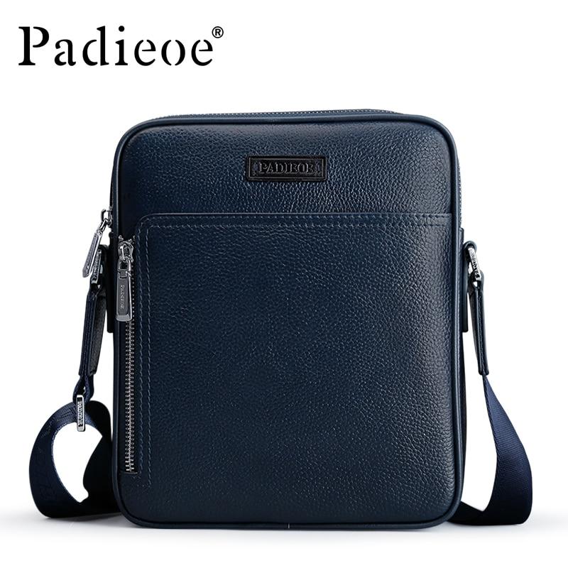 Padieoe Fashion Designer Brand Men Bag Genuine Leather One Shoulder Crossbody Men Messenger Bags