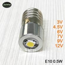 E10 0.5 واط 3 فولت 3.7 فولت (3.4 4.2 فولت) 4.5 فولت 6 فولت 7.5 فولت 9 فولت 12 فولت مصباح ليد جيب الشعلة لمبات مع صمامات ليد الزاهية مصباح يدوي لمبة إضاءة مصباح الرأس